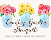 Country Garden Bouquets Mason Jar Hand Painted Watercolor Clip Art - Personal and Commercial Use peony posy blossom rose red pink green blue