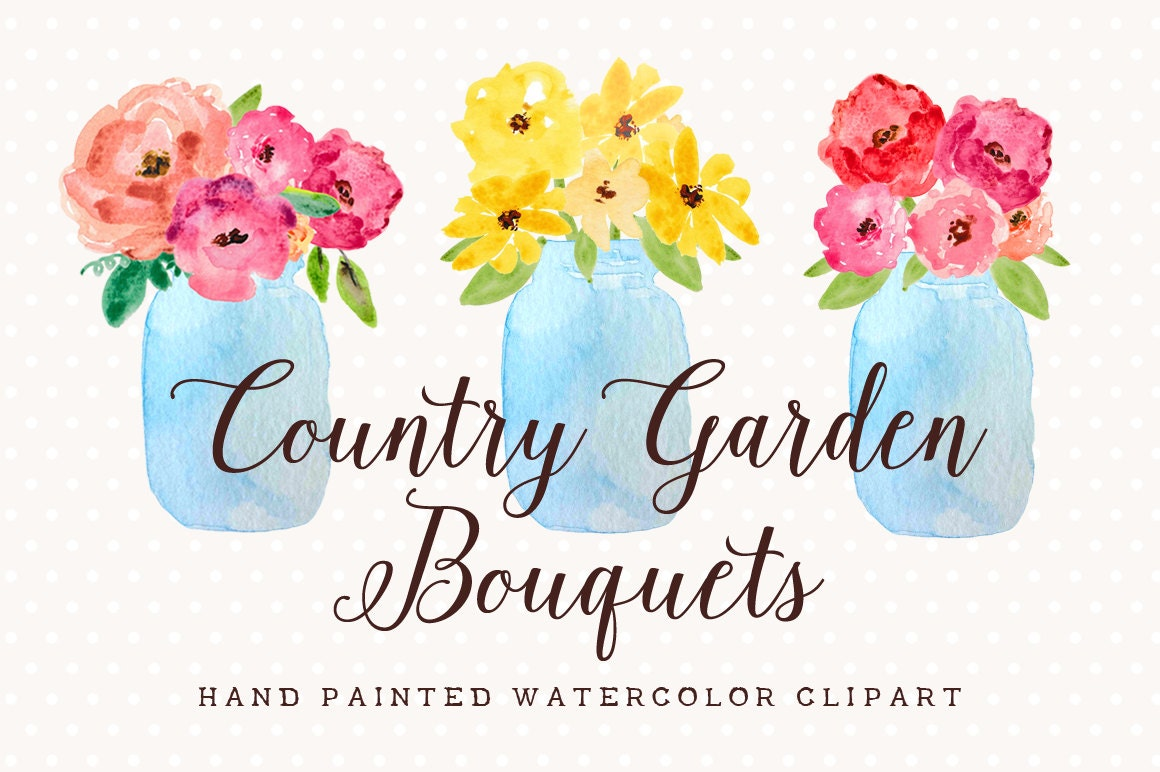 Country Garden Bouquets Mason Jar Hand Painted Watercolor Clip