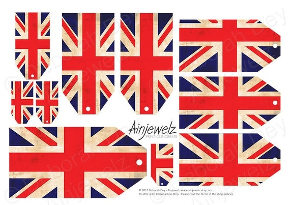 Vintage Union Jack Tags, British tags download,  British tags printable, English flag tags, British Embellishment Sheet, INSTANT DOWNLOAD