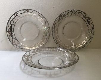 Silver Overlay Glass Plates in Art Nouveau Style