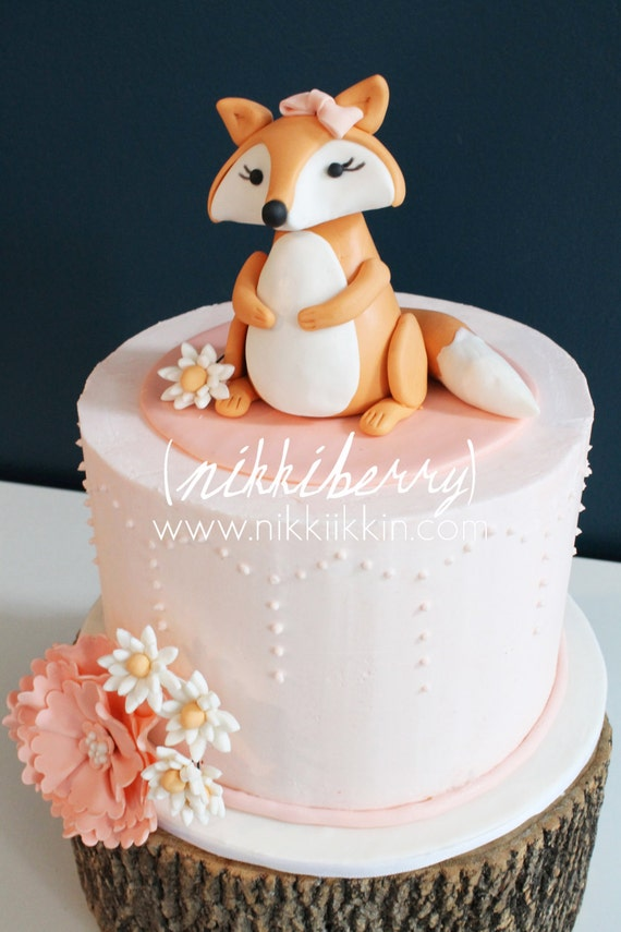 Baby Shower Cakes With Fox Topper