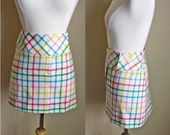 90s Mini Skirt // 1990s High Waist Plaid Wool White Pink Blue Yellow Clueless Plaid Knit Wrap Mini Skirt // XS S M L  Small Medium Large