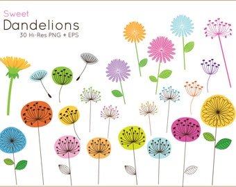 20% OFF Sweet Dandelion clip art for personal and commercial use ( cute flower clipart ) vector graphics