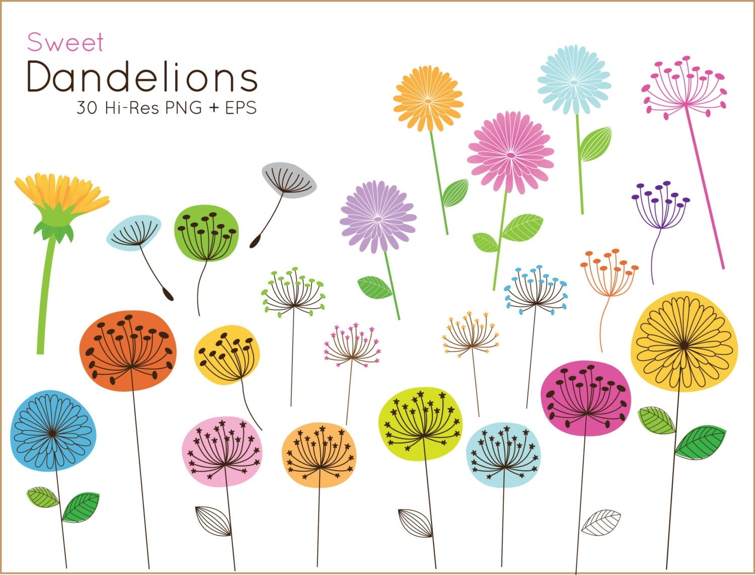 Clip Art Dandelion Clip Art dandelion clip art etsy buy 2 get 1 free sweet for personal and commercial use cute flower clipart vector graphics