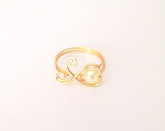 Gold Wire Wrapped Pearl Heart Ring