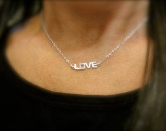 CZ sterling silver LOVE necklace