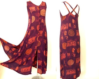 Vintage 90s purple tribal crinkle rayon maxi dress boho festival sun dress size S or M