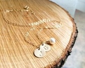 Initials Necklace - 14K Gold Filled Custom Initials Pearl Necklace - Mothers Necklace/Grandmothers Necklace/Personalized/Everyday Jewelry