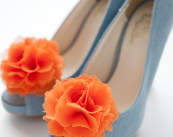 Orange-Set of 2,Chiffon flower shoe clips for bridal wedding-Choose your Color