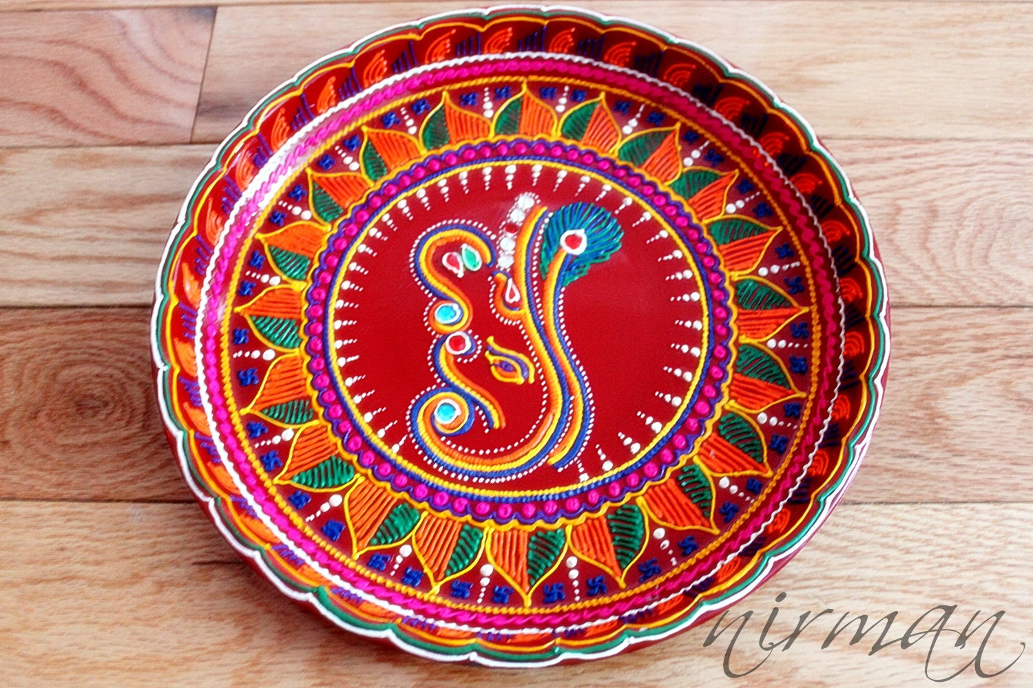 Ganesh pooja thali decorative henna mehndi design for Aarti thali decoration ideas for ganpati
