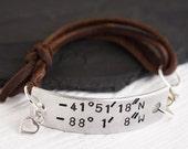 Latitude Longitude Bracelet   Adjustable Leather Bracelet   GPS Coordinates Bracelet   His & Her Bracelet   Gift for Girlfriend Wife