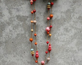 Long wooden bead necklace, red, orange, blue, grey, boho, gypsy, contemporary, double