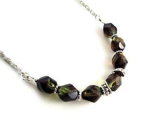 Amethyst and Olive Green Beaded Necklace - Silver Necklace - Twisted Czech Glass Beads - Two Tone Necklace