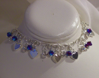 Bracelet/small silver finish hearts/4mm red crystals/crystal drops, 7 1/2 inch/Free USA shipping only
