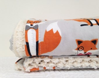 Baby Crib Blanket  Fox and Houndstooth by Robert Kauffman READY to SHIP