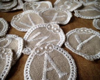 Linen Embroidered Alphabet Letter Doilies A-Z, Charm Letters, Monogram Linen Fabric Vintage Style