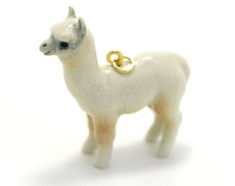 1 - Porcelain White Alpaca Hand Painted Glaze Ceramic Animal Small Llama Bead Vintage Jewelry Supplies Little Critterz Porcelain (CA013)