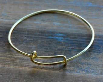 1 - Gold Expandable Bracelet Wire Charm Bracelet Shiny 24K Gold Plated 2mm Thick Expandable Wire Bracelet (DA153)
