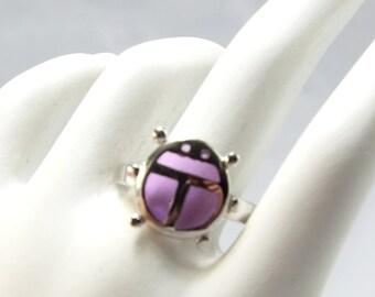 Love Bug 925 Ring, Pink Gem Lady Bug 925 Sterling Ring, Purple Critter Amethyst Bug 925 Ring, Ad