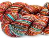 "Kettle Dyed Sock Yarn, Superwash Merino and Silk Fingering Weight, in ""Magic Carpet"""