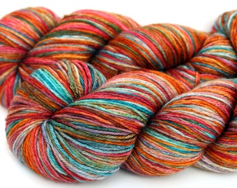 "Kettle Dyed Sock Yarn, Superwash Merino and Silk Fingering Weight, in ""Magic Carpet"""
