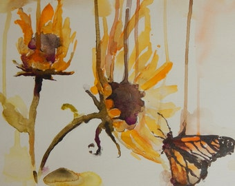 Sunflower and Monarch - Original Watercolor Painting