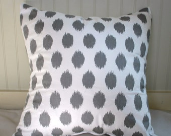 Grey and White Polka Dot Pillow Cover / 22 X 22 / Same fabric both sides