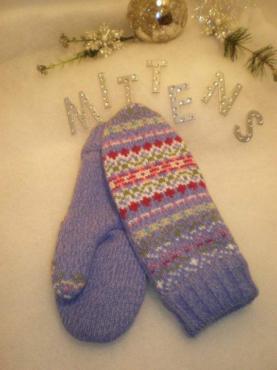 Recycled, Upcycled, Repurposed Wool and Cotton Sweater Mittens