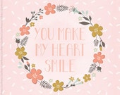 Love Inspirational Quote, Pink Art Decor, White Watercolor Pattern, Bedroom Home Decor, Pink, Flower Garland, Floral Art Print, Pastel Decor