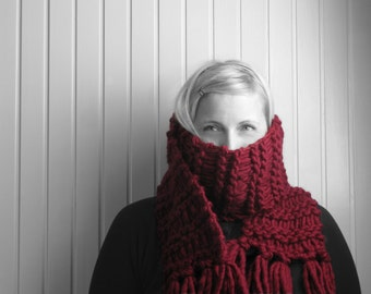 Extra long, chunky-knit, winter, fringed scarf — wine red, burgundy, plum