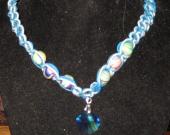 Blue Glass Seasheall on Triple Shade Hemp Necklace