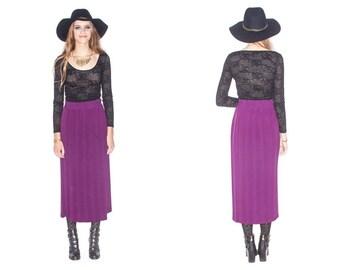 Vintage Plum Pleated Maxi Skirt// Size M/L