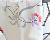 Embroidered linen tablecloth, vintage Swedish satin stitch, grey and red