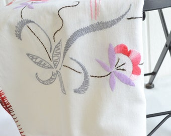 "Embroidered linen tablecloth, vintage Swedish satin stitch embroidery , grey and red 20 "" x 35 """