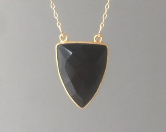 Gold Double Connected Black Onyx Triangle Necklace