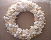 "Seashell wreath - 13"" peach wreath - wedding wreath - spring wreath - coastal decor - beach wreath"