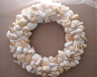 "Seashell wreath - 13"" peach wreath - wedding wreath - Christmas wreath - coastal decor - beach wreath"