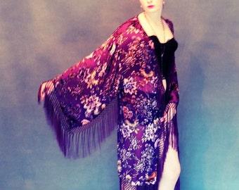 Mythic fringe kimono / long silk velvet floral duster in burgundy purple wine / wonderful gift ....or gift to self