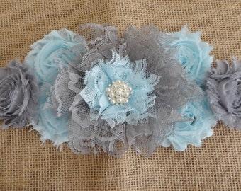 Boy Maternity Sash, Grey/Blue Lace Flower Sash, Grey/Blue Maternity Sash, Lace/Satin Sash, Pregnancy Sash, Maternity Photo Prop