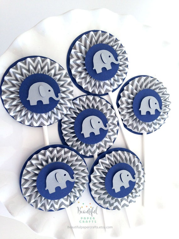 Navy And Gray Chevron Baby Elephant Rosettes Cupcake