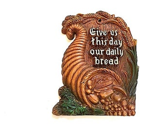 Give Us This Day Our Daily Bread, Vintage Plastic Wall Hanging,  Mid Century Modern Home Decor, Sign,  Bread Basket