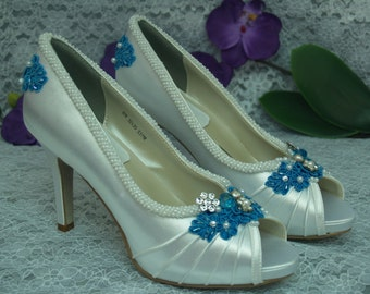 Wedding Shoes Turquoise Blue high heels, Brides Something Blue, Pearl Trimmed Satin Peep Toe Pumps, Rouged Satin, 3 1/4 inch heels, Lace
