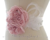 Blush Pale Pink,White Feather,Bridal Wedding Sash,Flower Sash,Lace Embroidery,Bridal Belt,Baby Girl Photoshoot,Maternity Sash,Rose Blossom