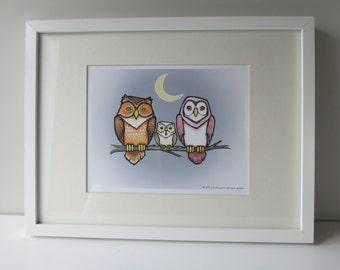 Night Life Owl Print ~ 5x7 // 8x10 ~ Baby Kids room decor