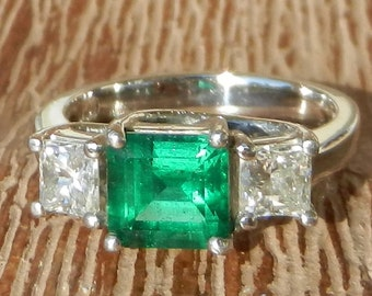 GIA Certified Natural 2.57 Carat Emerald & Diamond Engagement Ring 950 Platinum