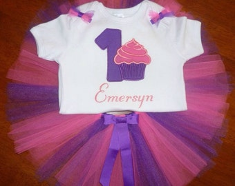 Cupcake personalised first birthday tutu set