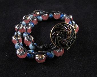 Wrap bracelet, hand beaded wrap bracelet, hand beaded bracelet, hand beaded jewelry,  pink and blue hand beaded wrap bracelet