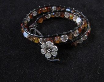 Wrap bracelet, brown wrap braclet, beaded leather wrap bracelet, brown bracelet,  Hand beaded leather wrap bracelet