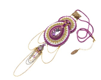 HIT !!! Exclusive exotic far estern bollywood soutache pendant, elegant and shinny, hand made embroidery jeweley - Lavender Scheherezade