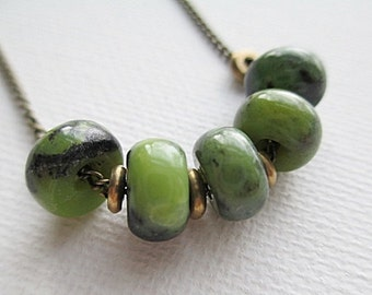 Green Gemstone Bead Necklace Handmade Beaded Jewelry Short Boho Rustic Chrysoprase